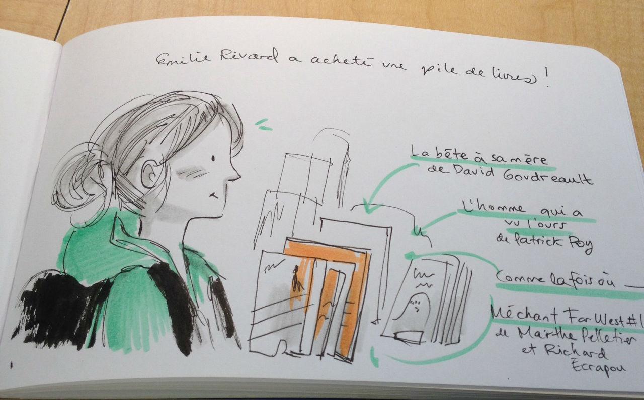 Émilie Rivard, dessinée par Bach le 12 août.
