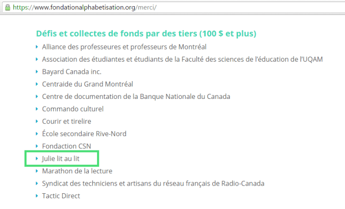 Contribution de 105$ à la Fondation pour l'alphabétisation.