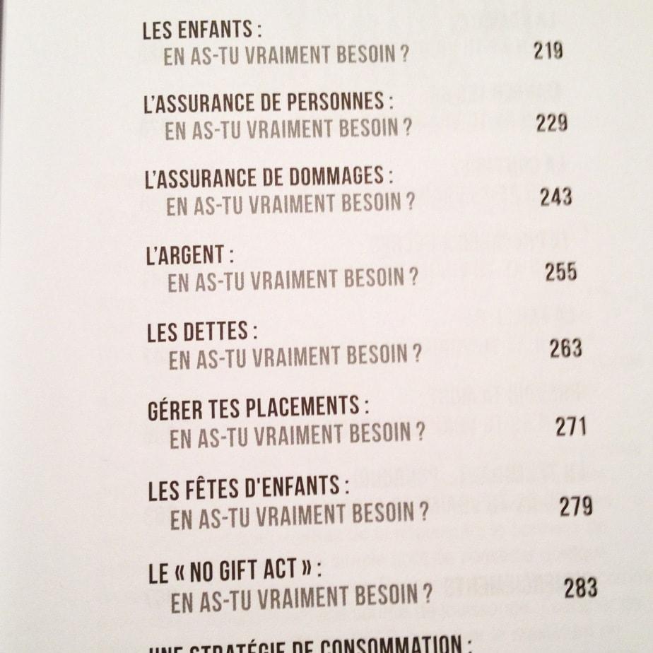 """Un extrait de la table des matières du livre """"En as-tu vraiment besoin?"""" de Pierre-Yves McSween."""