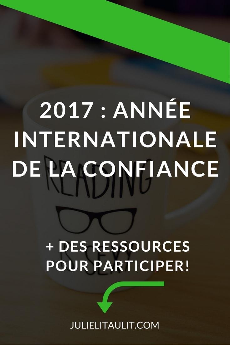 Publicité pour l'année internationale de la confiance.