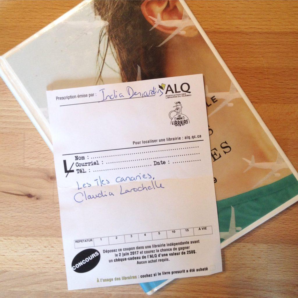 Prescription littéraire : Les îles Canaries de Claudia Larochelle, par India Desjardins.