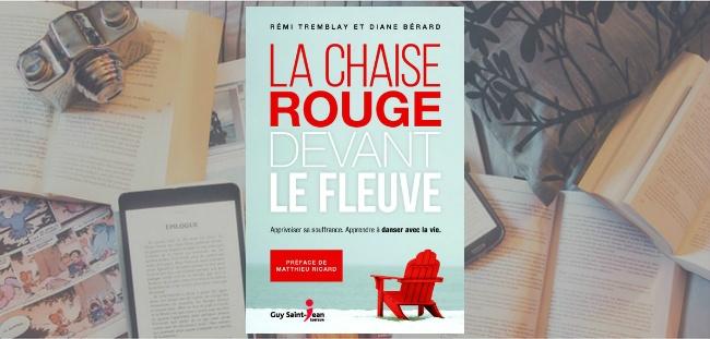 """Couverture du livre """"La chaise rouge devant le fleuve"""" de Rémi Tremblay & Diane Bérard, chez Guy Saint-Jean Éditeur."""