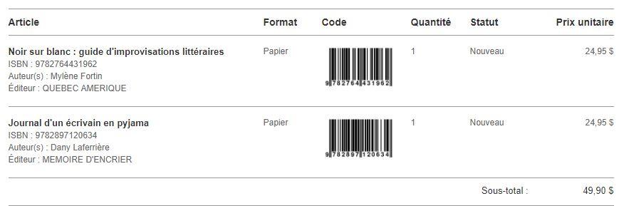 Mes achats : Le journal d'un écrivain en pyjama + Noir sur blanc : guide d'improvisation littéraire.