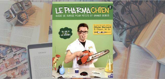 """Couverture du livre """"Le Pharmachien : Guide de survie pour petits et gros bobos"""" de Olivier Bernard."""