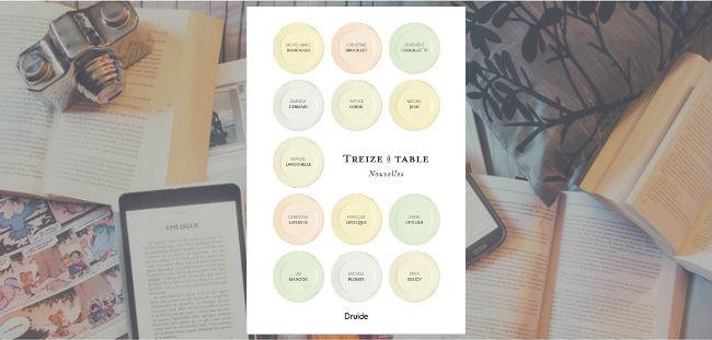 Couverture du recueil de nouvelles Treize à table, sous la direction de Chrystine Brouillet et Geneviève Lefebvre.