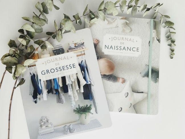 Couvertures du Journal de grossesse et du Journal de naissance de Josée-Anne Sarazin-Côté, publiés chez Goélette.