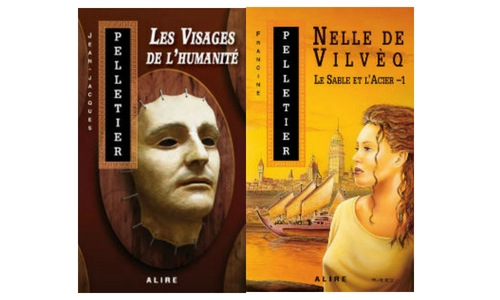 Couvertures de Les visages de l'humanité de Jean-Jacques Pelletier et de Nelle de Vilvèq de Francine Pelletier, tous deux publiés chez Alire.