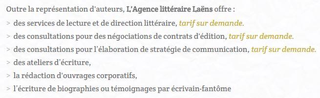 Liste des services offerts par l'Agence Littéraire Laëns.