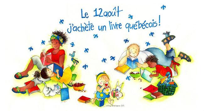 Illustration d'Hélène Desputeaux pour l'événement Le 12 août, j'achète un livre québécois, édition 2019.