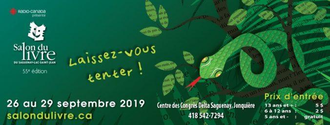 Affiche officielle du Salon du livre du Saguenay–Lac-Saint-Jean 2019.