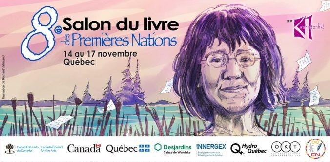Bannière de la 8e édition du Salon du livre des Premières Nations. Illustrateur : Richard Vallerand.
