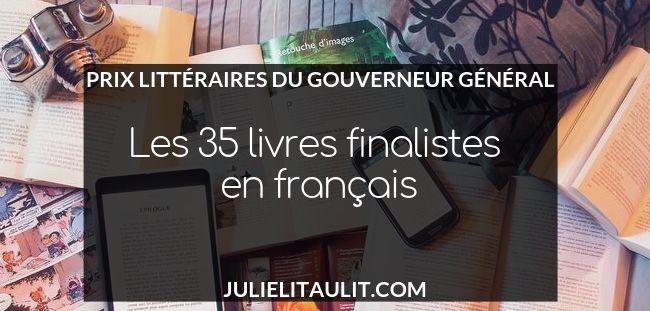 Prix littéraires du Gouverneur général : les 35 livres finalistes en français.